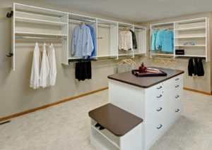 Walk-in closet with island