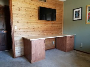 Home office wood accent wall