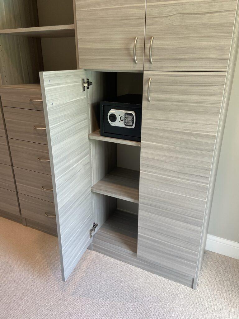 secure safe in custom closet design