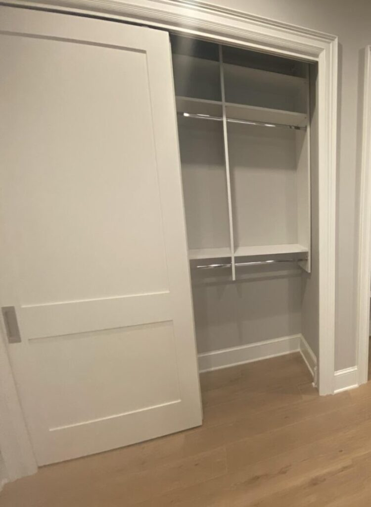 Mudroom closet hanging storage